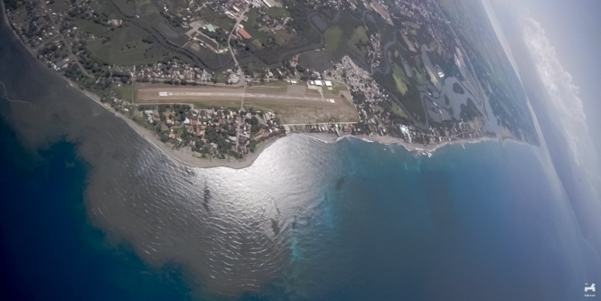 View during skydiving