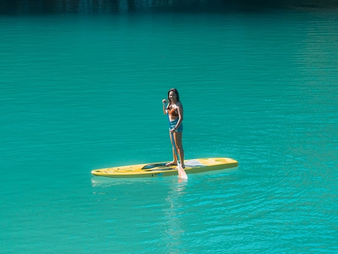 Stand-up paddleboarding in Sugba Lagoon