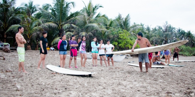 Surfing in Lola Sayong's surf camp in Gubat, Sorsogon