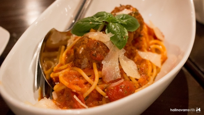 Francesco's Kitchen spaghetti with meatballs