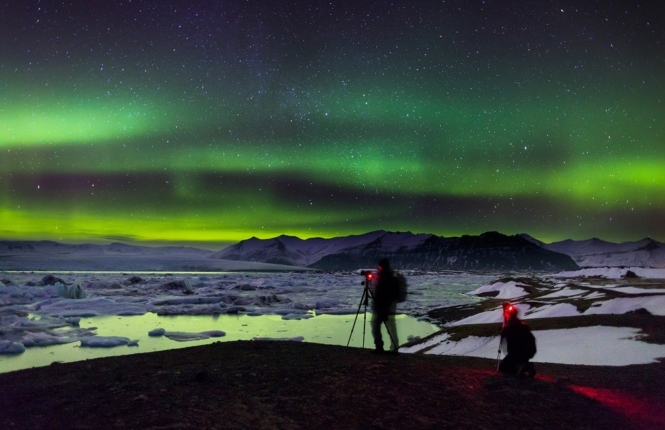 Northern lights at Jokulsarlon, Iceland