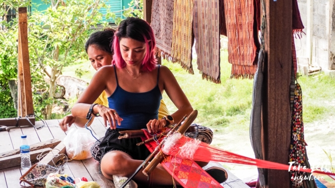 Hands-on demo of traditional weaving in Yakan Weaving Village, Zamboanga City