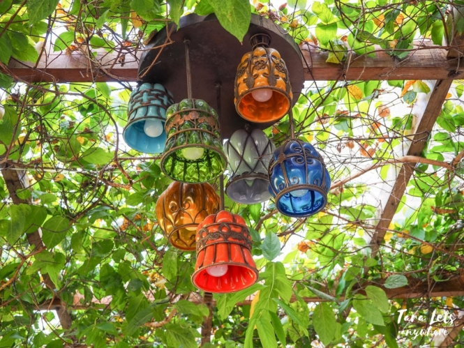 Colorful light bulbs in Ataalaya Farmhouse
