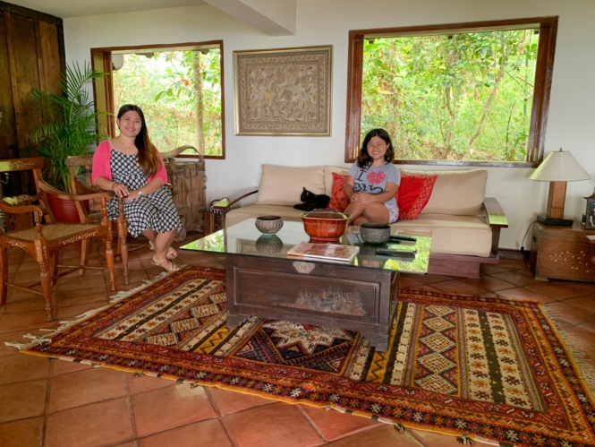 Kat and Jona in living room in Ataalaya Farmhouse