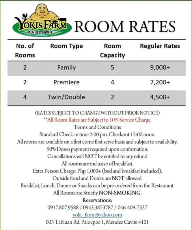 Yoki's Farm room rates