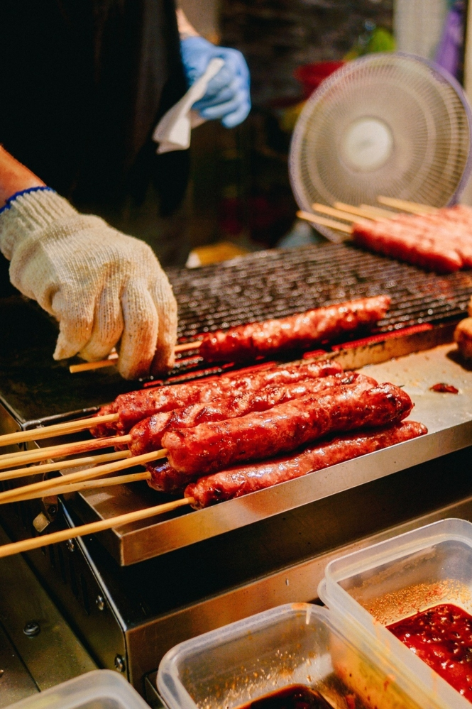Grilled sausage in Shilin Night Market in Taipei City