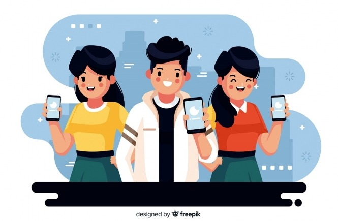 People on phone vector